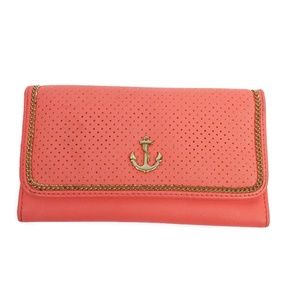 Icing Womens Clutch Wallet Pink Gold Anchor Chain